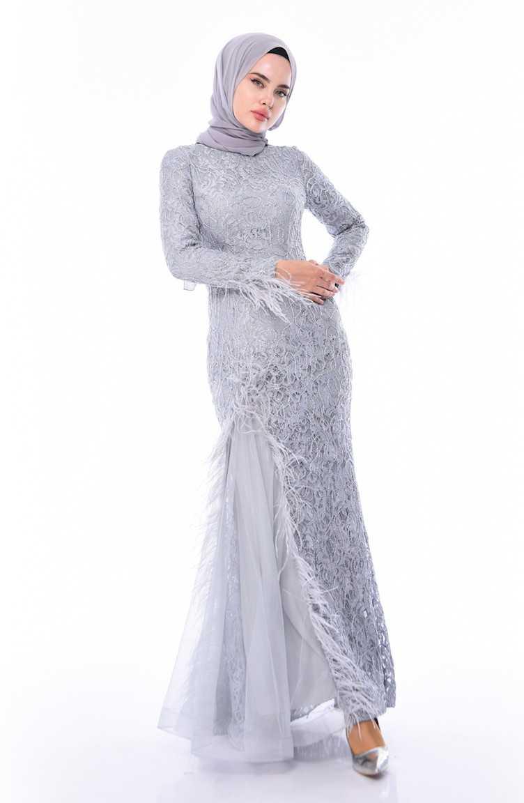 Sefamerve Tüylü Abiye Elbise Modelleri