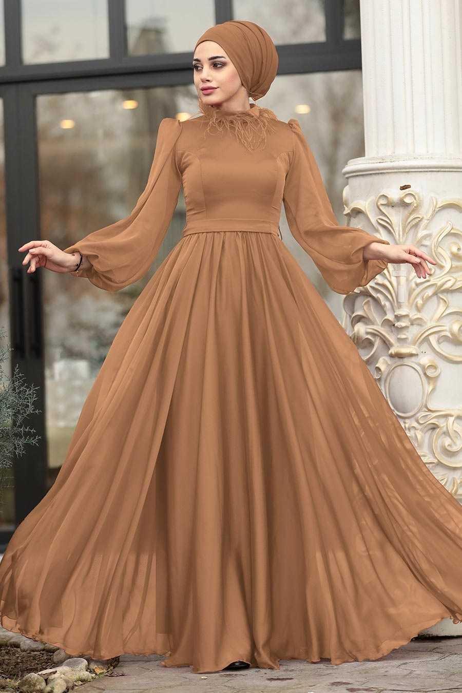 Tesettürlü Abiye Elbiseler Tüylü Modelleri