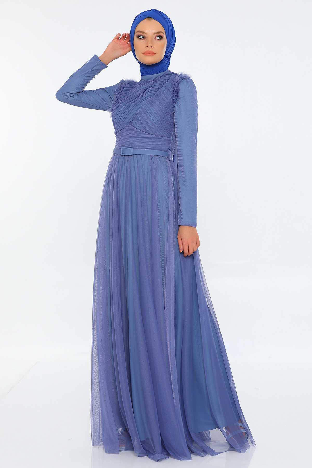 Tozlu Giyim Tüylü Abiye Elbise Modelleri
