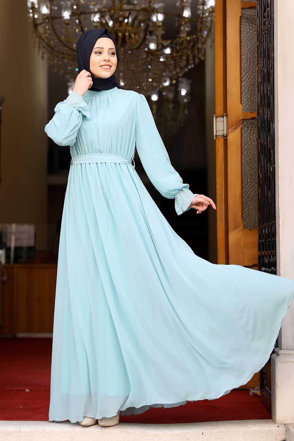 Amine Hüma Büzgülü Tesettür Özel Elbise Modelleri