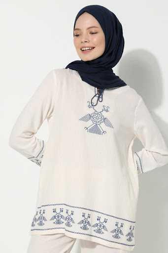 Elis Şile Bezi Nakışlı Tesettür Bluz Modelleri