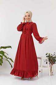 HF Moda Büzgülü Tesettür Elbise Modelleri