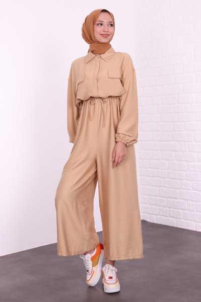 Lamia Giyim Büzgülü Tesettür Tulum Modelleri