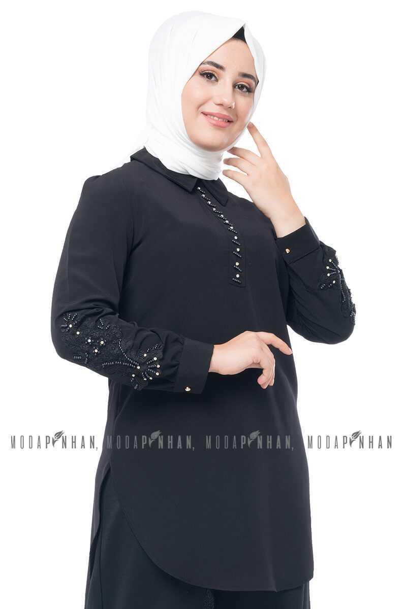 Moda Pinhan Tesettür Nakışlı Krep Tunik Modelleri