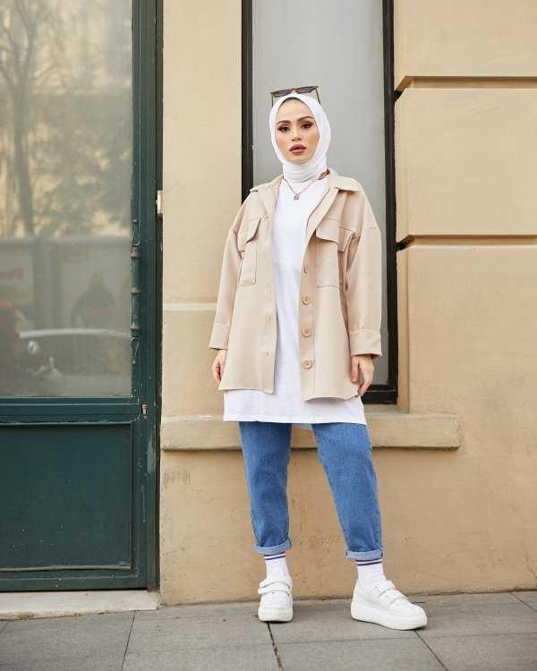 Moda Yağmur Tesettür Gabardin Gömlek Modelleri