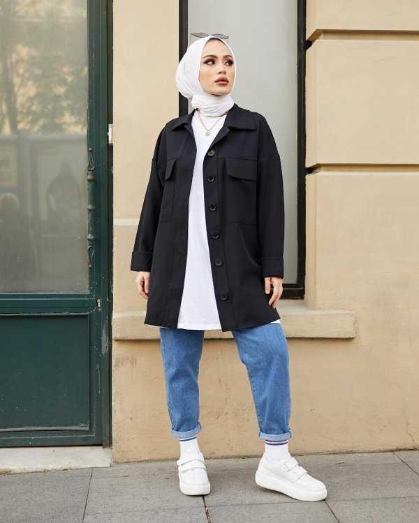 Moda Yağmur Tesettür Siyah Gabardin Gömlek Modelleri