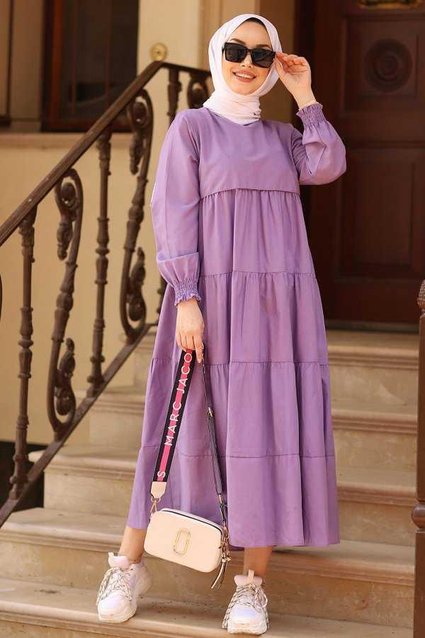 ModaSahra Büzgülü Tesettür Elbise Modelleri
