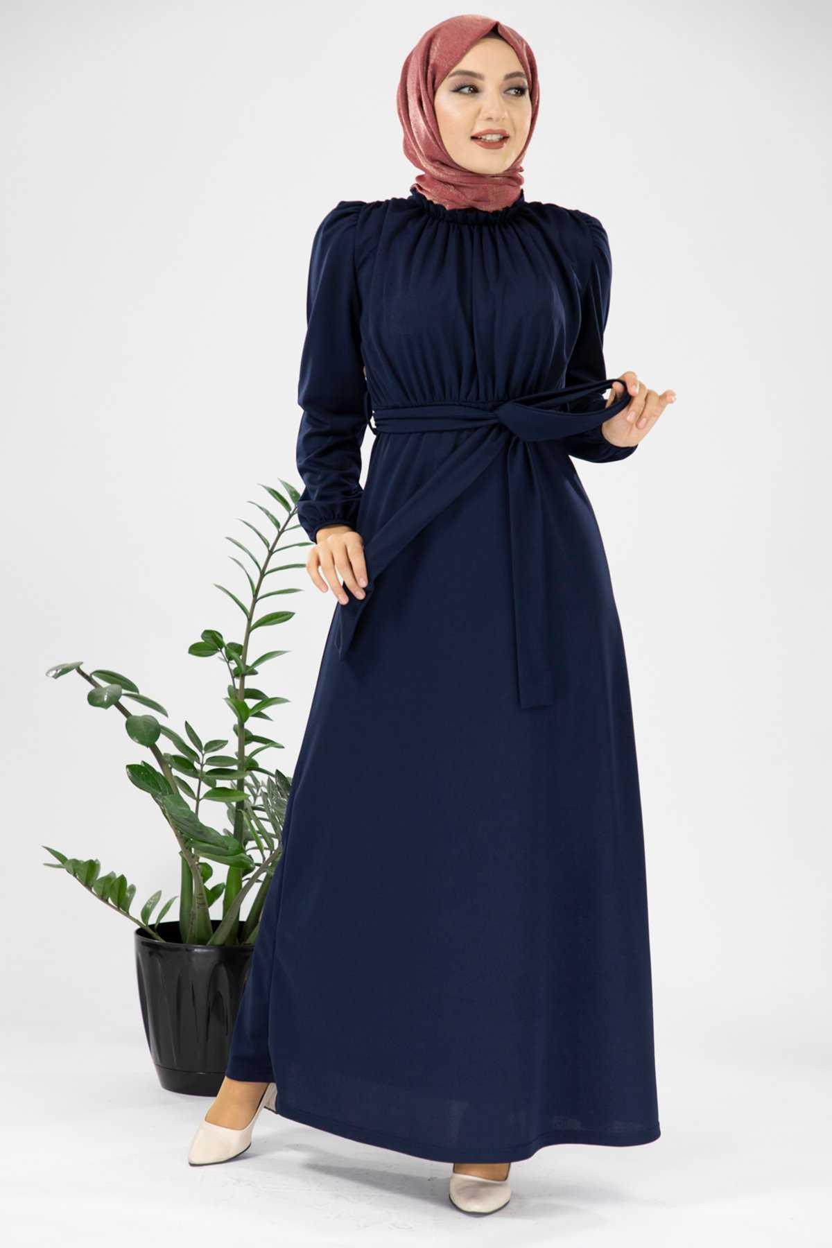 Modanoiva Büzgülü Tesettür Elbise Modelleri