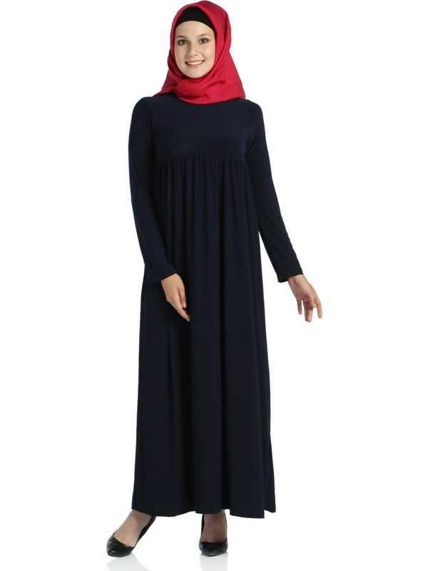 Modaverda Büzgülü Tesettür Elbise Modelleri