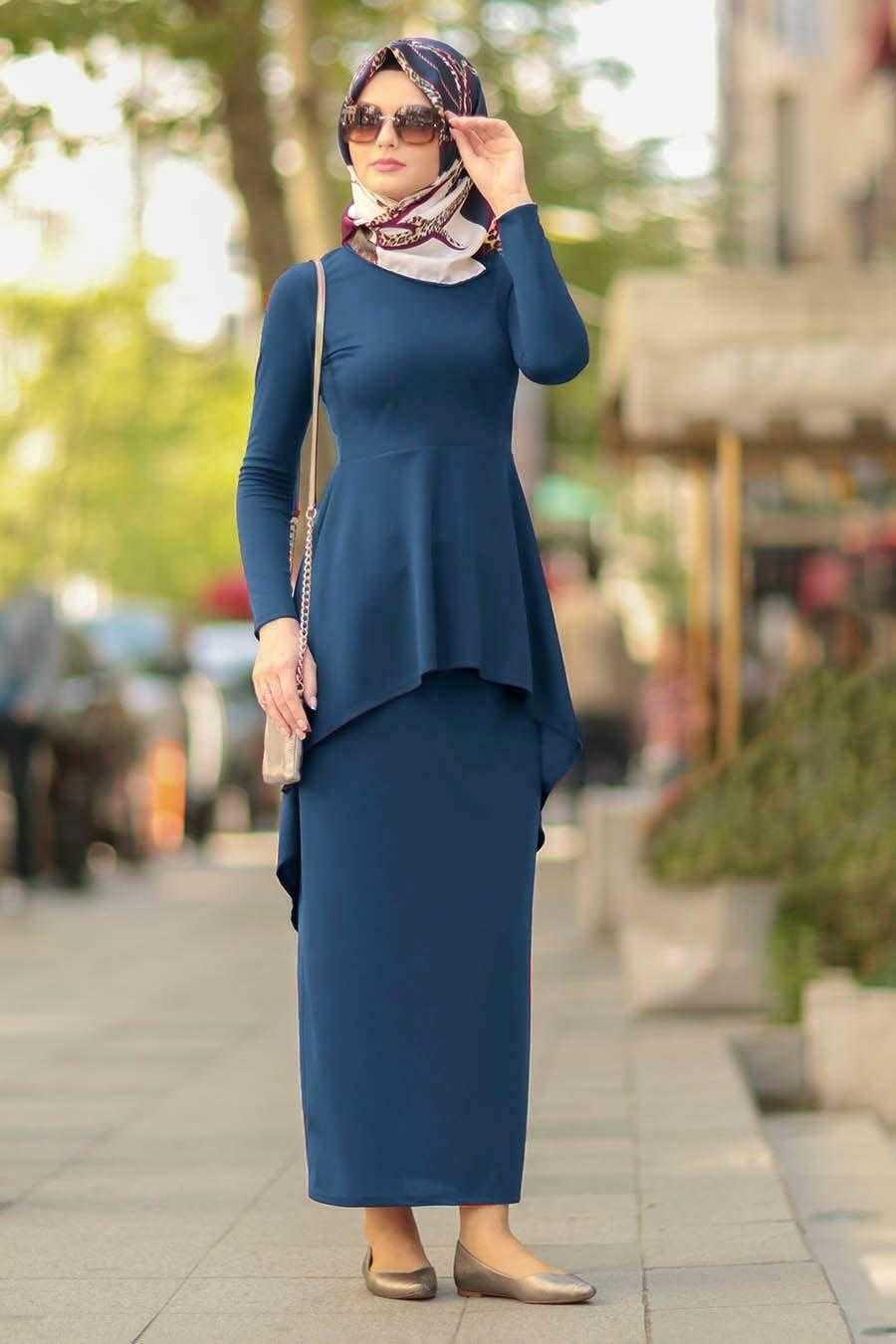 Nayla Collection Tesettür İndigo Etek Bluz Takım Modelleri