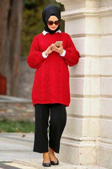 Neva Style Tesettür Kırmızı Örgü Tunik Modelleri