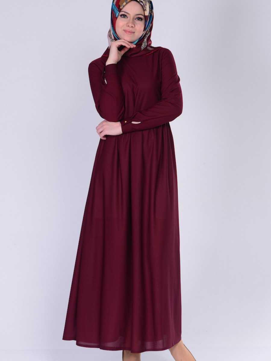 Sefamerve Büzgülü Tesettür Bordo Elbise Modelleri