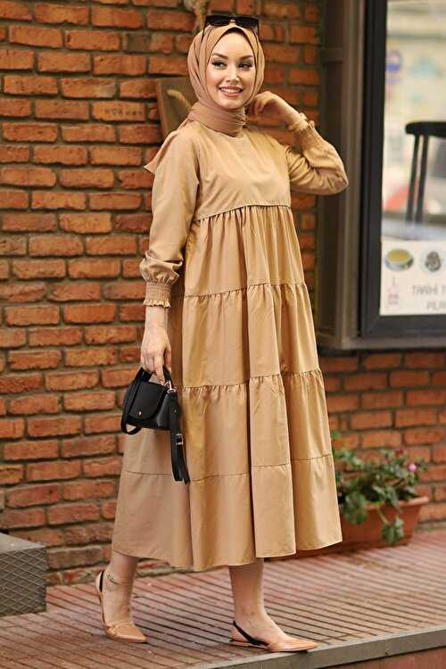 Şık Moda Sahra Büzgülü Tesettür Elbise Modelleri