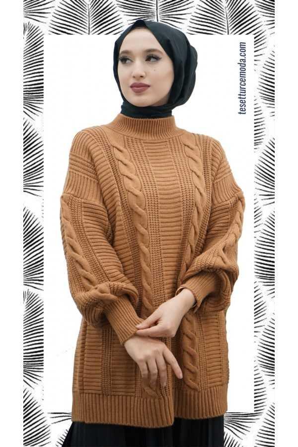 Tesettürce Moda Örgü Desen Tunik Modelleri
