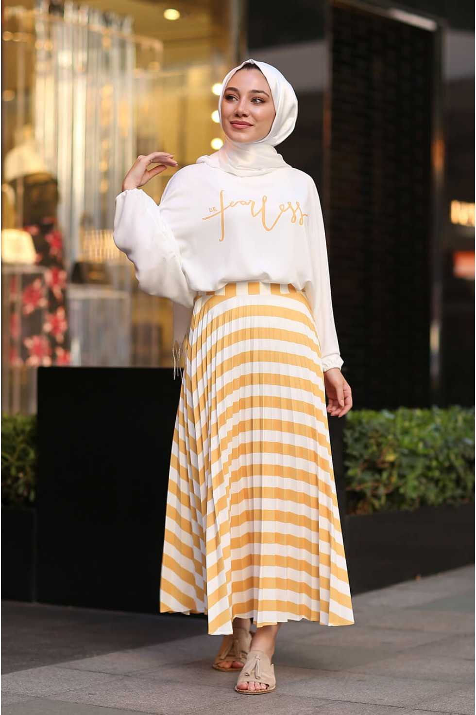 Zarif Tesettür Desenli Etek Bluz Takım Modelleri
