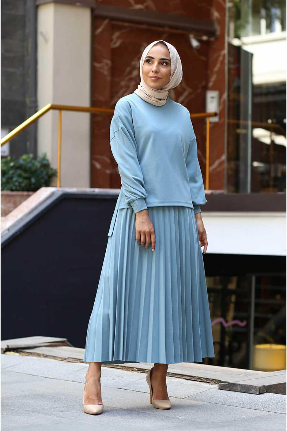 Zarif Tesettür Etek Bluz Takım Modelleri
