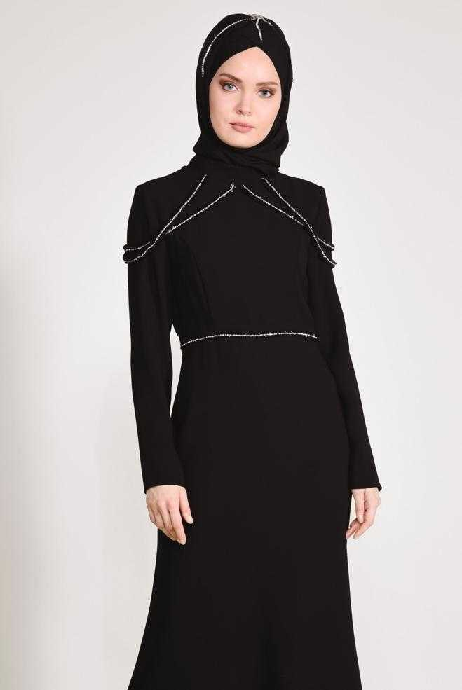 Alvina Taş İşlemeli Tesettür Abiye Elbise Modelleri