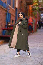 Hf Moda Peluş Kürklü Tesettür Uzun Kaban Modelleri
