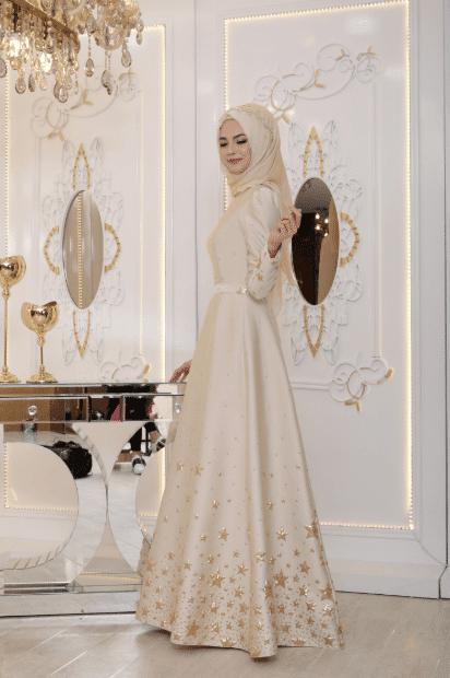 İşlemeli Tesettür Abiye Elbise Modelleri