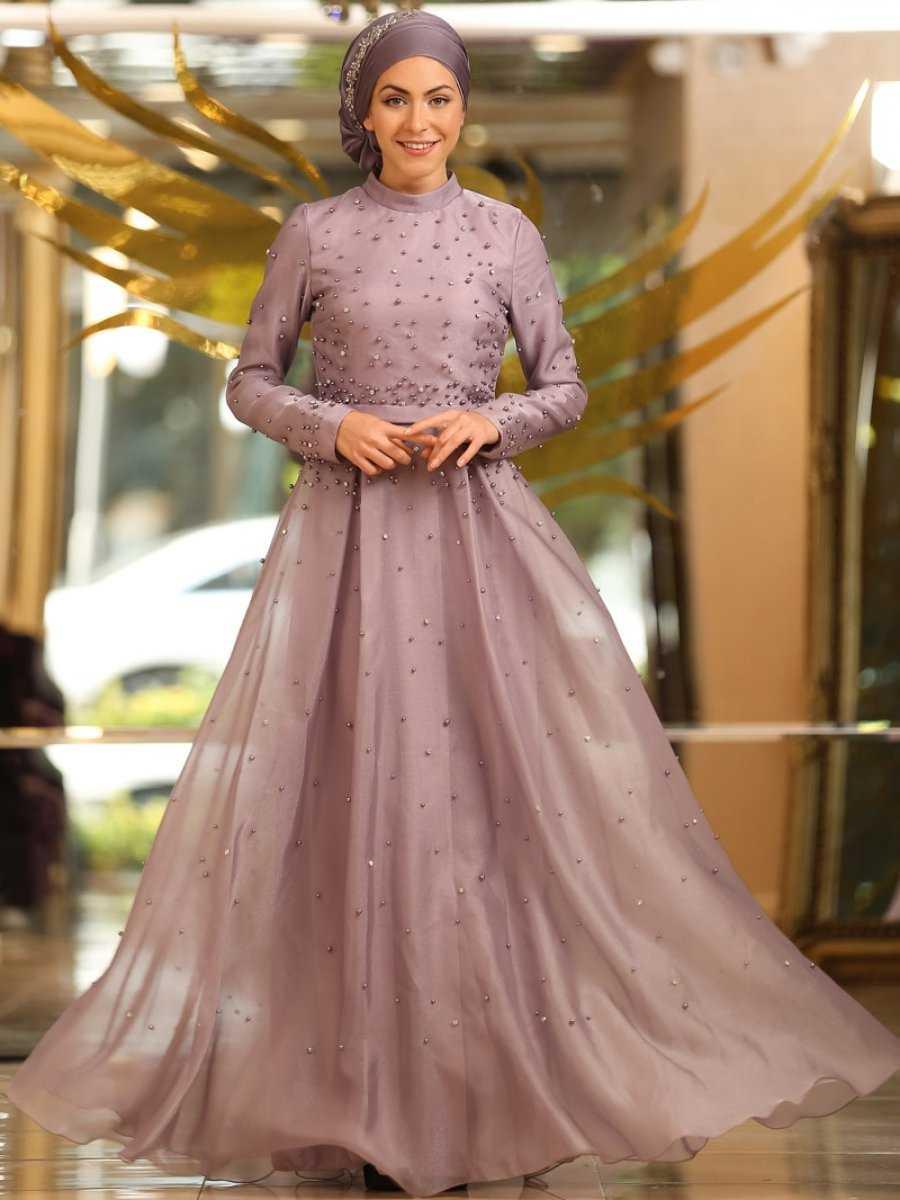 Minel Aşk Taş İşlemeli Tesettür Abiye Elbise Modelleri