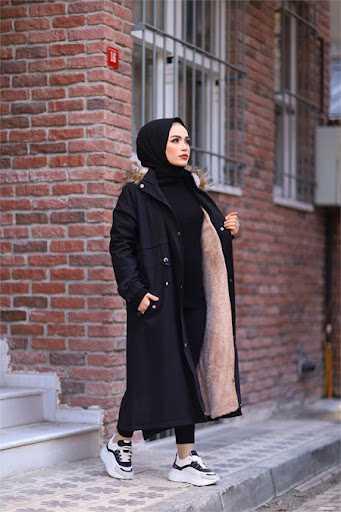 ModaBahar Peluş Kürklü Tesettür Uzun Kaban Modelleri