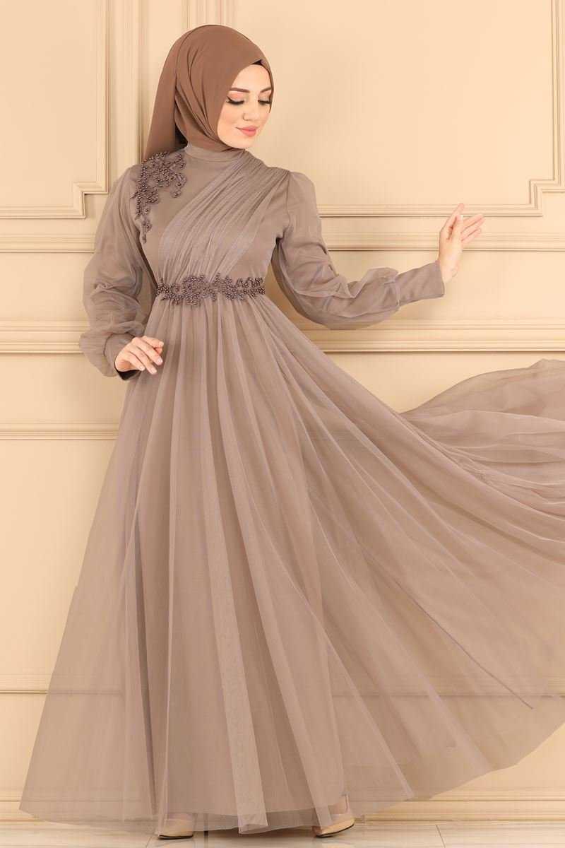 Modaselvim İşlemeli Tesettür Abiye Elbise Modelleri
