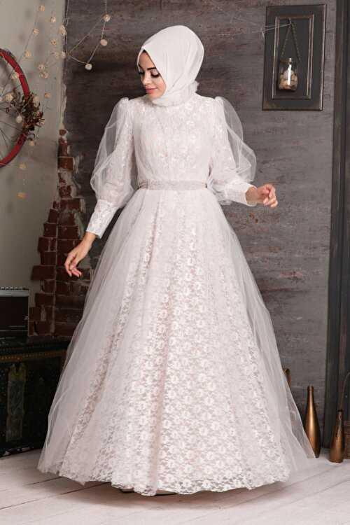 Neva Style Boncuk Dantel Tesettür Abiye Elbise Modelleri