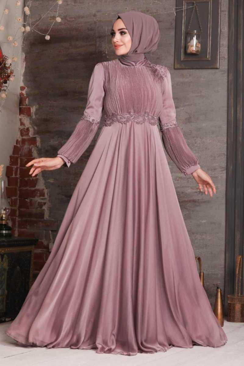 Neva Style Boncuk İşlemeli Tesettür Abiye Elbise Modelleri