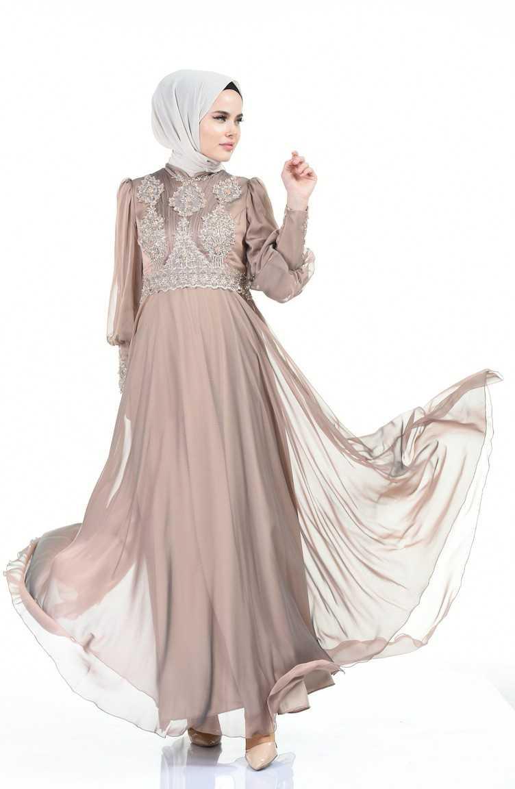 Sefamerve Boncuk İşlemeli Tesettür Abiye Elbise Modelleri