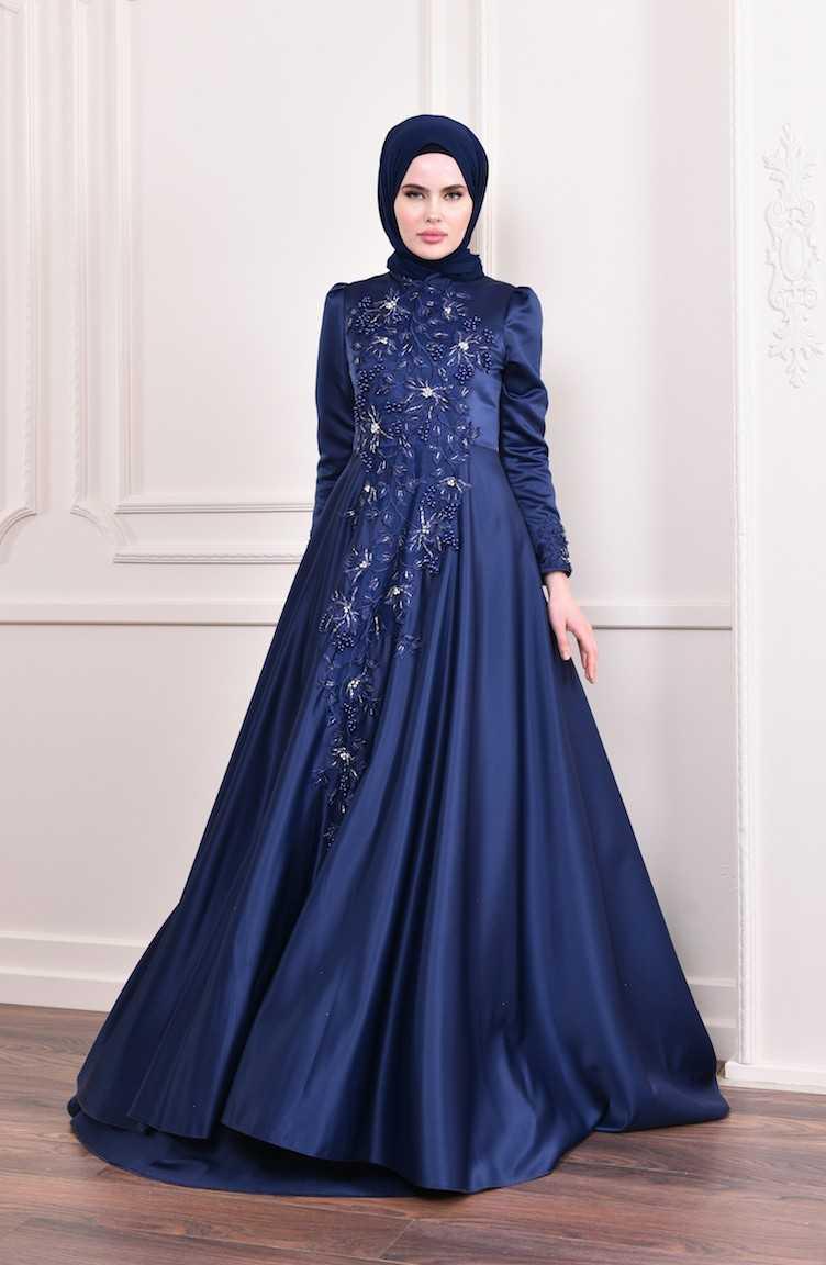 Sefamerve İşlemeli Tesettür Abiye Elbise Modelleri