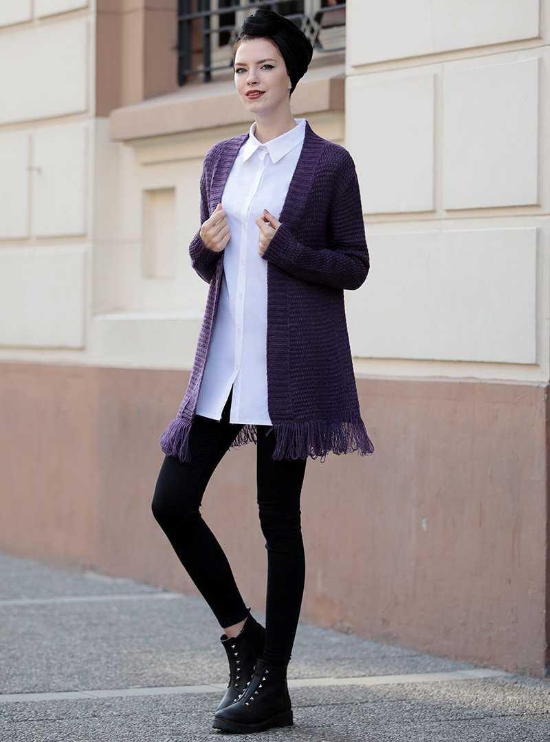 Selma Sarı Design Tesettür Püsküllü Triko Ceket Modelleri