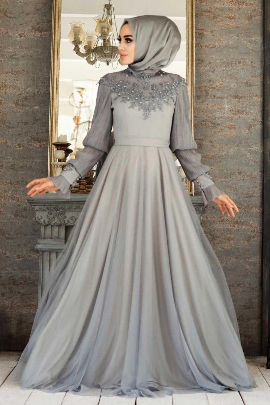 Tesettür Abiye Elbiseler Boncuk İşlemeli Modelleri