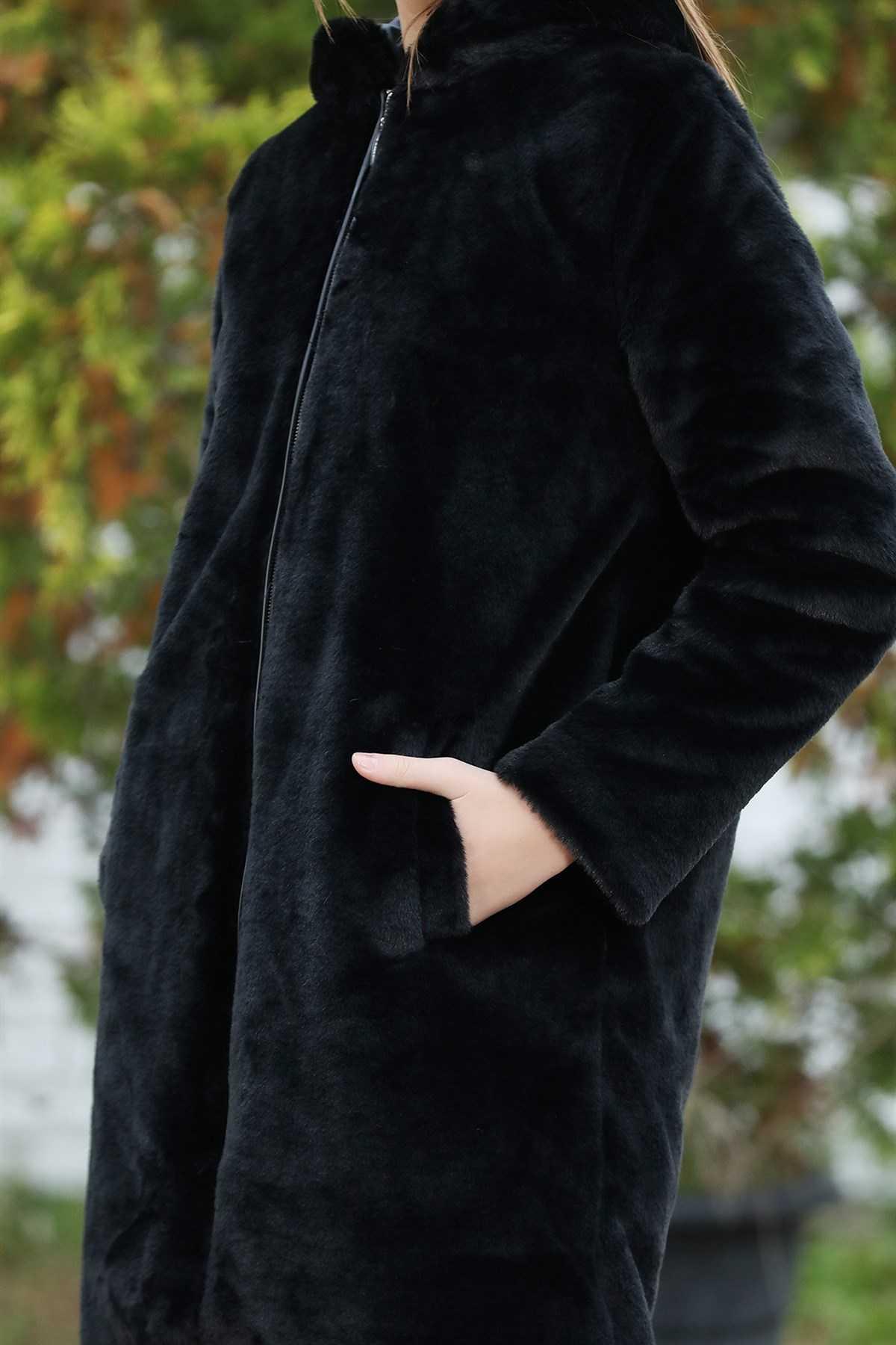 Tozlu Tesettür Peluş Mont Modelleri